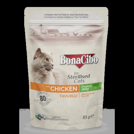 BONACIBO POUCH - WET ADULT CAT FOOD - STERILISED - CHICKEN 85g