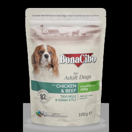 BONACIBO POUCH - WET ADULT DOG FOOD - CHICKEN & BEEF  100g