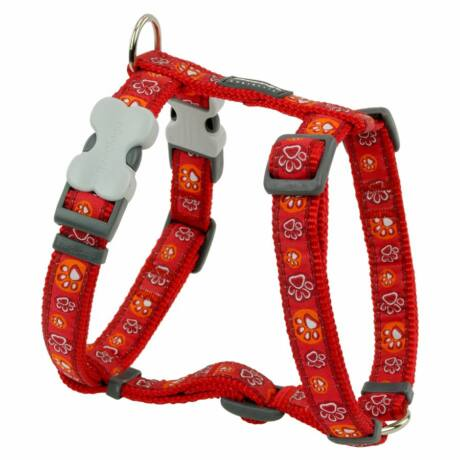 Red Dingo Paw Impressions Red Large Dog hám