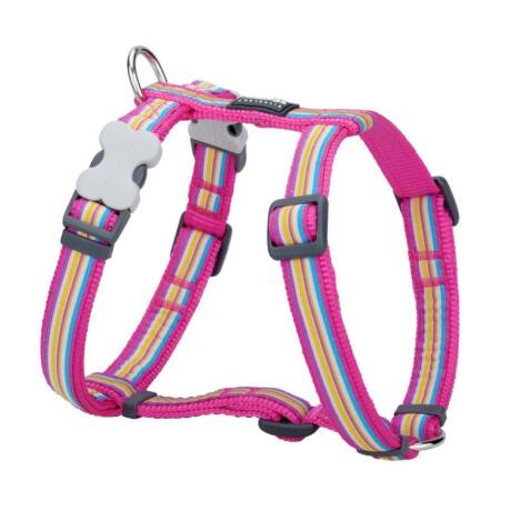 Red Dingo Horizontal Stripes Hot Pink Small Dog hám