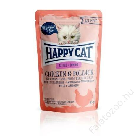 HAPPY CAT POUCH HÚS JUNIOR CSIRKE-TŐKEHAL 24x85g