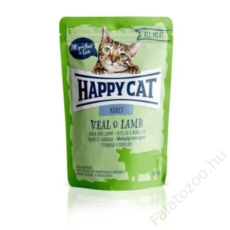 HAPPY CAT POUCH HÚS ADULT BORJÚ-BÁRÁNY 24x85g